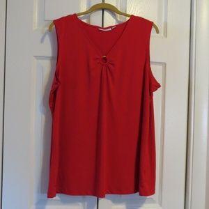 Susan Graver Liquid Knit O-Ring Tank Red Sz XL